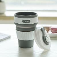 旅行可折叠水杯水壶旅游运动有盖咖啡杯子户外便携可伸缩饮水杯子