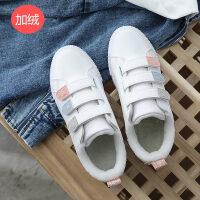 鞋子女新款冬季魔术贴休闲百搭加绒冬鞋帆布鞋韩版学生小白鞋