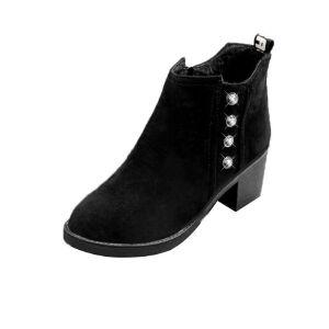 WARORWAR新品YM166-5058冬季韩版磨砂粗跟中高跟厚底防水台水钻女士短靴马丁靴