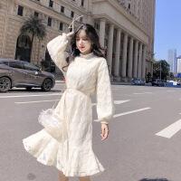 蕾丝连衣裙春季2019年新款中长款长袖仙女装内搭打底裙子加绒加厚