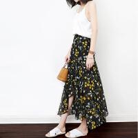 2018春夏装新款女装韩版显瘦碎花裙子气质雪纺半身裙长裙沙滩裙 黑色 现货