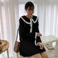 春装韩版复古气质宽松显瘦娃娃领系带连衣裙女长袖打底A字裙学生