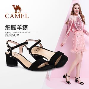 Camel/驼女鞋2018夏季新款羊�S皮高跟鞋性感一字扣凉鞋女粗跟露趾鞋子