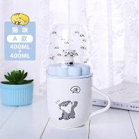 可爱马克杯子陶瓷带盖勺创意潮流少女学生韩版水杯家用牛奶早餐杯a233