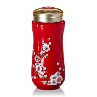 乾唐轩活瓷杯鎏金红梅报春随身杯双层创意陶瓷水杯杯子