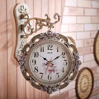 钟表双面挂钟客厅个性创意现代简约静音大气欧式时钟家用时尚挂表 20英寸