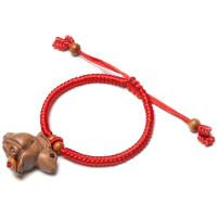 十二生肖属相桃木兔子手链吊坠钥匙扣挂件挂饰坠红绳实木雕刻项链新年春节生肖木质挂件