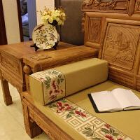 ???中式红木沙发扶手枕长方形腰枕靠垫实罗汉床圆枕亚麻抱枕靠枕定做
