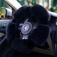 汽车方向盘套冬季纯羊毛汽车把套毛绒方向盘套真皮女通用皮毛一体