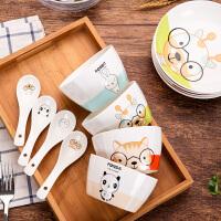 釉上彩骨瓷16件卡通碗碟套装饭碗陶瓷盘子家用微波炉餐具 16头套装 16件