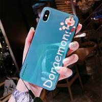 苹果X手机壳6splus叮当猫xsmax女xr哆啦A梦8plus蓝光iPhonex网红7p格子xma 蓝色 ip7/8