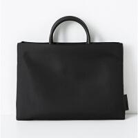 手提文件袋A4拉链袋防水公文包男女士商务办公会议袋资料袋电脑包 黑色小号 13.3寸