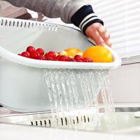 家用双层洗菜篮漏盆塑料洗菜篮子 厨房漏水篮洗菜盆沥水篮水果盆