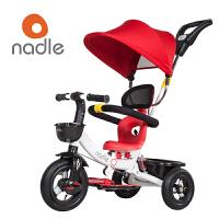 Nadle纳豆时尚儿童手推车自行车 三轮车脚踏车 避震带推把婴儿推车 新款