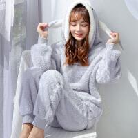 珊瑚绒睡衣女士冬季保暖可爱连帽鼠秋天法兰绒家居服套装
