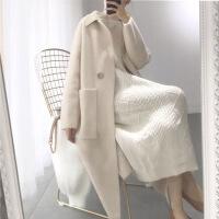 新年优惠【NEW】秋冬季复古优雅中长款仿貂绒加厚针织开衫大衣白色气质毛衣女 米白