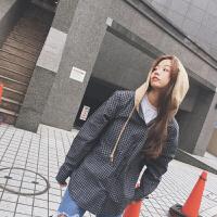 春装韩版女装原宿风bf格子衬衫宽松连帽薄款学生外套潮 黑色 均码