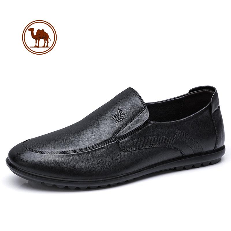 骆驼牌男鞋新品透气耐穿舒适套脚商务休闲鞋柔软牛皮鞋男