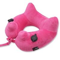 按压式充气u型枕头旅行枕便携折叠多功能飞行脖子靠枕护颈枕