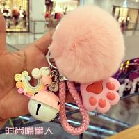 20190213050427196韩国创意可爱毛绒钥匙扣女 高档獭兔毛球汽车钥匙链包包挂件女士