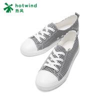 热风2018年新款小清新女士系带格子休闲布鞋平底帆布鞋H14W8120