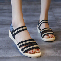 凉鞋 女士坡跟松糕交叉罗马鞋2020夏季新款韩版时尚女式休闲百搭舒适沙滩鞋女鞋子