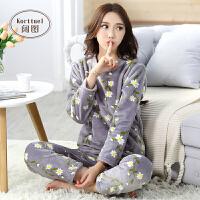 睡衣女冬季加厚珊瑚绒可爱韩版春秋法兰绒长袖甜美大码家居服套装