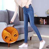2018春秋季新款韩版显瘦高腰牛仔裤女装小脚裤紧身加绒铅笔长裤子 加绒