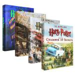 【现货合售】英文原版 Harry Potter 哈利波特1-4卷:魔法石+密室+阿兹卡班的囚徒+火焰杯 大开本 全彩插
