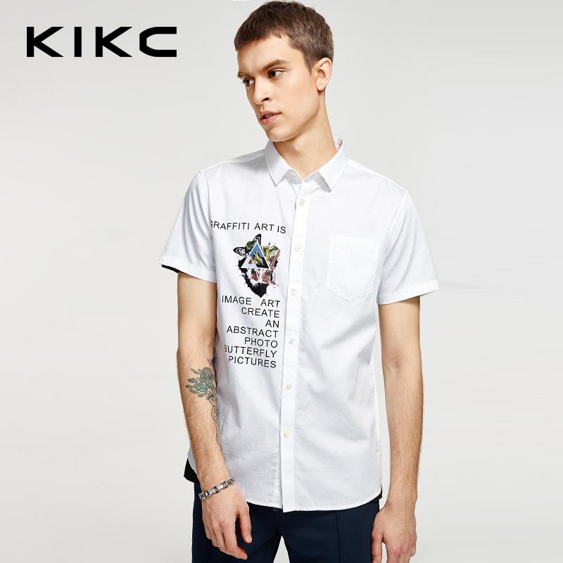 【每满100立减50,领券再减20,仅限8.15-8.18】kikc短袖衬衫男2018夏季新款青少年潮流印花纯棉拼接尖领衬衣男士-