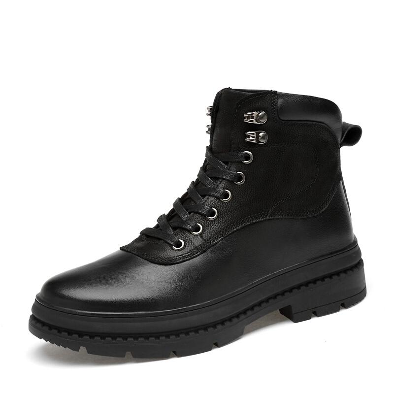 男鞋秋冬真皮加绒保暖高帮男棉鞋户外休闲单皮鞋牛皮马丁靴子
