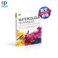 英文原版 给艺术家和插画师的水彩技巧绘画技法艺术入门指导艺术书 Watercolour Techniques 精装