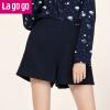 Lagogo/拉谷谷2017冬季新款女装高腰口袋金属标装饰百搭韩版短裤