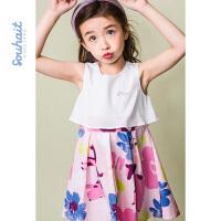 水孩儿souhait女童洋气裙子夏夏季新款连衣裙假两件拼接裙子AZEXM464