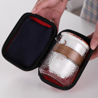 豪峰旅行功夫茶具套装玻璃泡茶壶便携式包陶瓷快客杯户外一壶三杯kb6