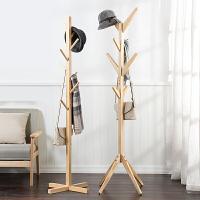 简易实木质落地衣帽架 客厅卧室挂衣架收纳架