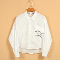 【秋二波】新款春8F1111韩范纯色单排扣时尚百搭衬衫