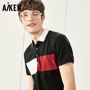 森马旗下Aiken短袖T恤男士夏装新款翻领POLO衫修身半袖体恤美式上衣男