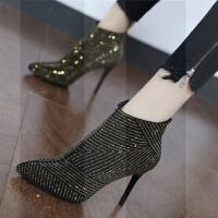 2018秋冬欧美尖头性感水钻细跟裸靴气质后拉链女靴高跟短靴子SN0361