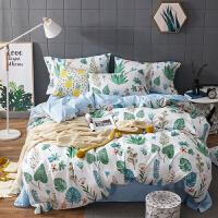 美式田园四件套简约植物花卉床单被套床笠三件套床上用品