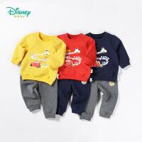 迪士尼Disney童装 儿童衣服秋冬新款卡通赛车卫衣套装男宝宝肩开扣休闲服可开裆183T842