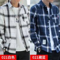 格子衬衫男长袖秋冬季韩版男士衬衣休闲保暖衣服加绒潮流秋装外套