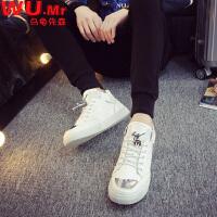 【618大促-56元包邮】乌龟先森 单鞋 男士春季新款男式高帮板鞋系带韩版潮鞋青少年休闲鞋子学生男板鞋子