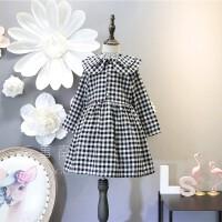 中小童2018韩版童装女童春季新款时尚双领格子修身长袖长裙连衣裙
