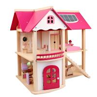 木制diy小屋娃娃房子别墅女儿童过家家玩具3-7岁4-5-6岁生日礼物 别墅过家家