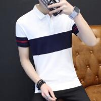 短袖T恤男翻领纯棉修身款衣服T夏季韩版潮流青年衬衫领polo衫上衣