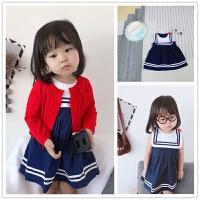 优~海军风背心裙0-1-3-5-6岁小童连衣裙 女童宝宝梭织洋气公主裙