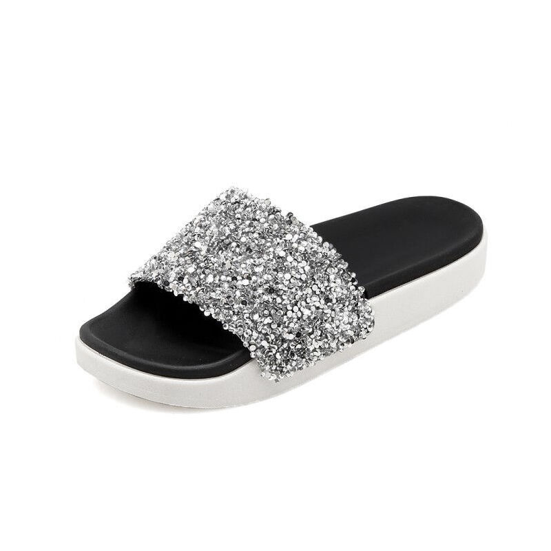 ELEISE美国艾蕾莎新品113-T2985韩版混合材质平跟女士凉拖鞋