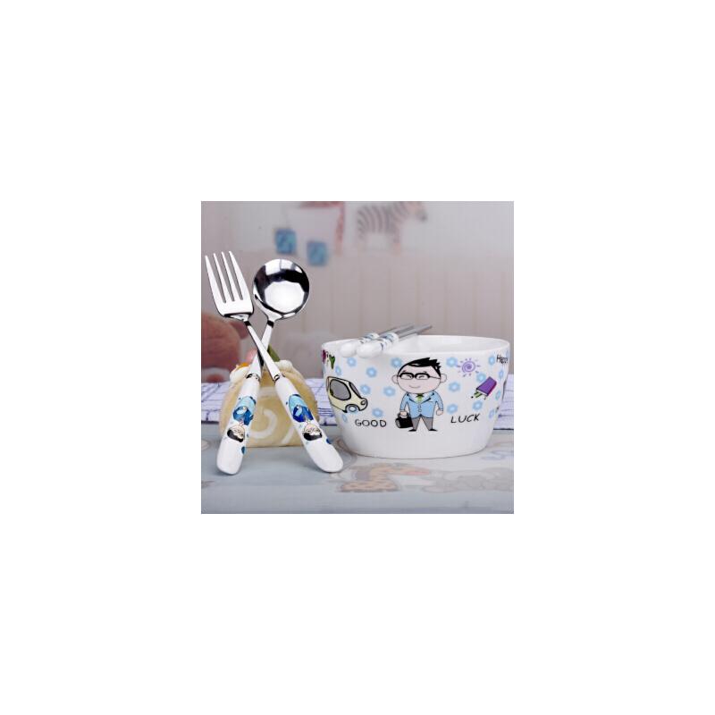 白领公社 单人餐具套装 家用陶瓷大汤面碗筷套装不锈钢可爱卡通创意中式情侣饭碗筷子叉子勺子四件套 【亲子套装】