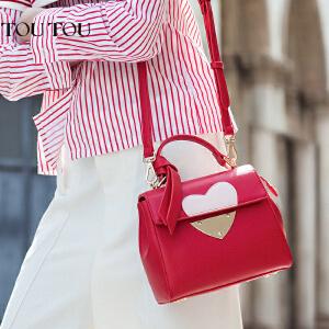 toutou2017夏季新款女包韩版潮个性时尚单肩包手提红色包包结婚用新娘包